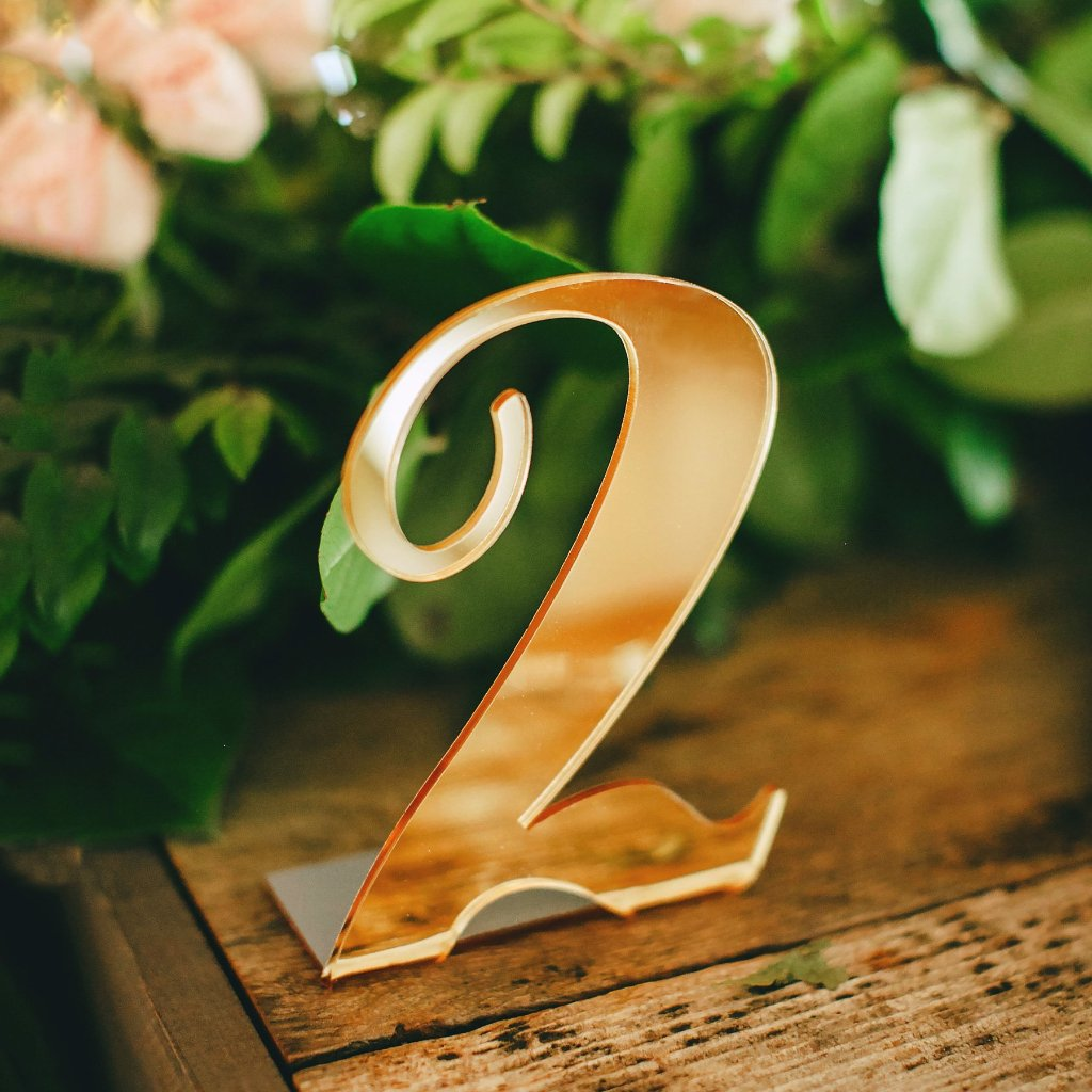 Mirror Acrylic Table Numbers - Wedding Decor Gifts