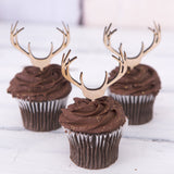 Wooden Antler Cupcake Toppers - Wedding Decor Gifts