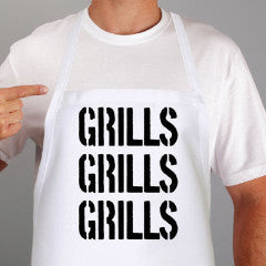 "Funny Grilling Apron ""Grills Grills Grills"" - Wedding Decor Gifts"