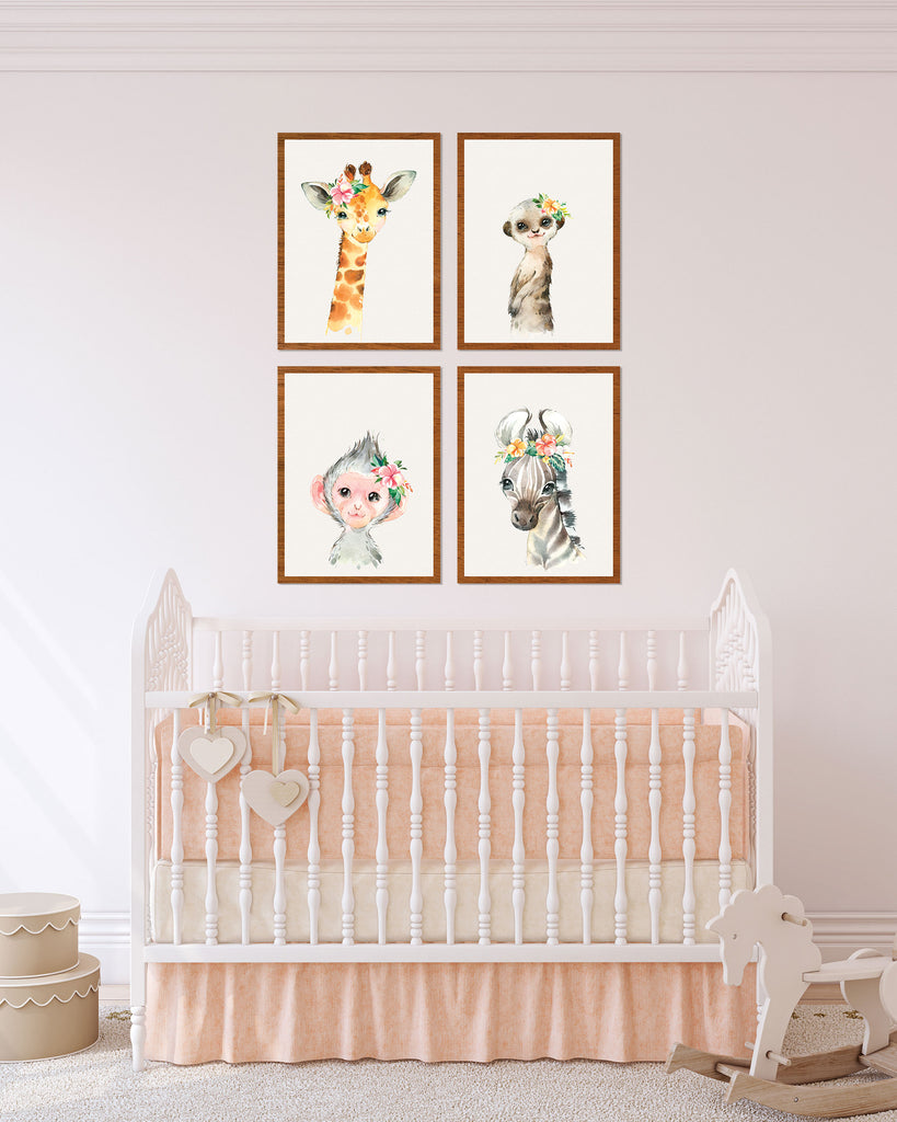 Safari Theme Nursery Kids Room Decor, Girl's Bedroom Artwork - Wedding Decor Gifts