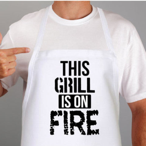 "Fuuny Grilling Apron ""This Grill is on Fire"" - Wedding Decor Gifts"