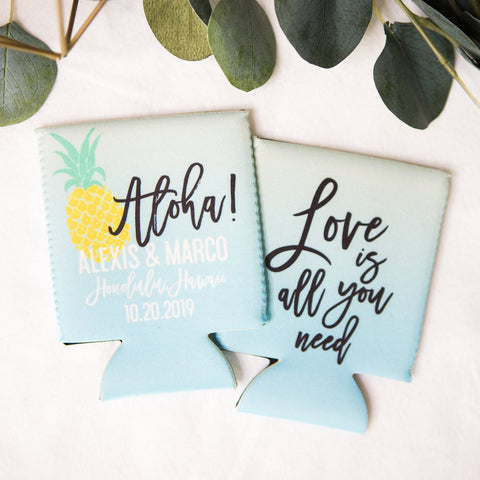 Tropical Wedding Favor Drink Holders