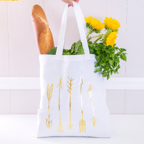 Boho Tote Bag Metallic Arrows