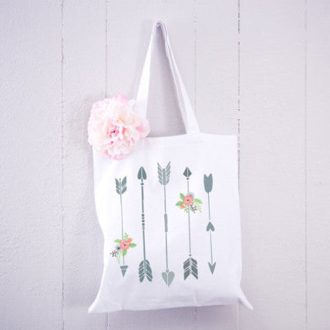 Tote Bag with Arrows Floral Boho - Wedding Decor Gifts