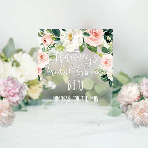 Bridal Shower Clear Sign, Personalized Bridal Brunch Sign Floral Pink Bridal Shower