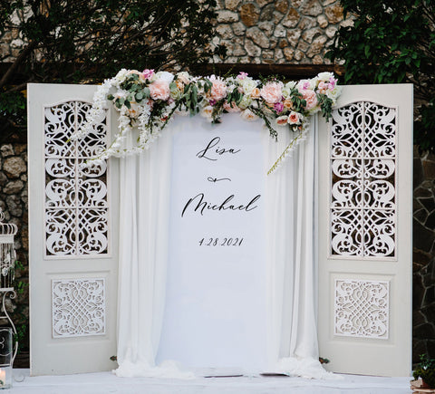 Hanging Script Wedding Back Drop