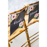 Wedding Banner Chair Signs for Bride and Groom