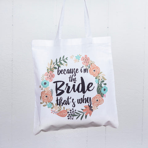 I'm the Bride Floral Tote Bag - Wedding and Gifts