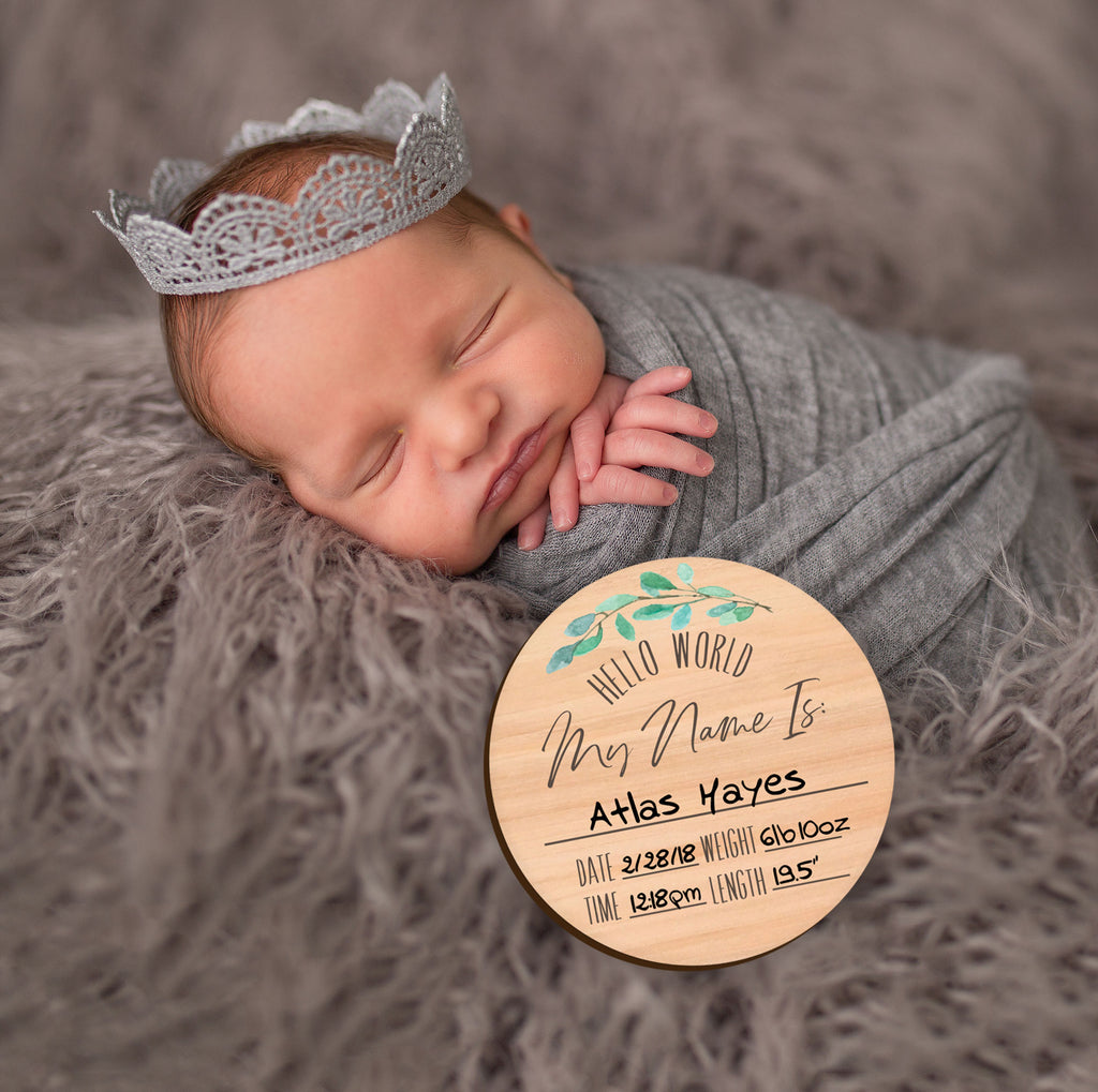 New Baby Stats Card Wooden Circle Baby Name Sign - Wedding Decor Gifts