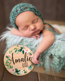 Wood Circle Baby Name Sign, Hospital Sign - Wedding Decor Gifts