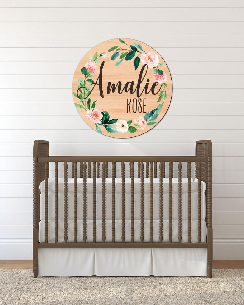 Wood Circle Baby Name Sign, Hospital Sign