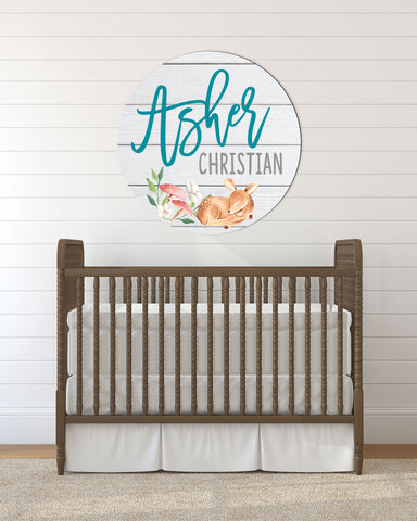 Nursery Decor New Baby Announcement Name Sign Deer Woodland Circle