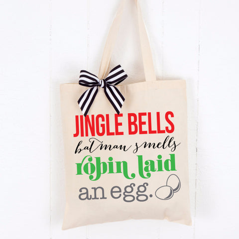 Holiday Tote Bag - Jingle Bells - Wedding Decor Gifts