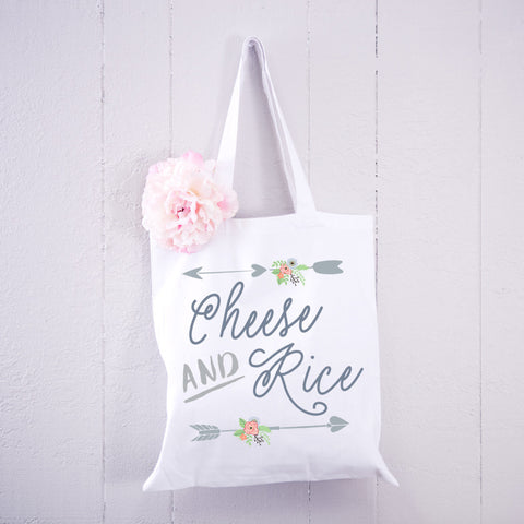 "Tote Bag with Arrow Detail Funny ""Cheese & Rice"" - Wedding Decor Gifts"