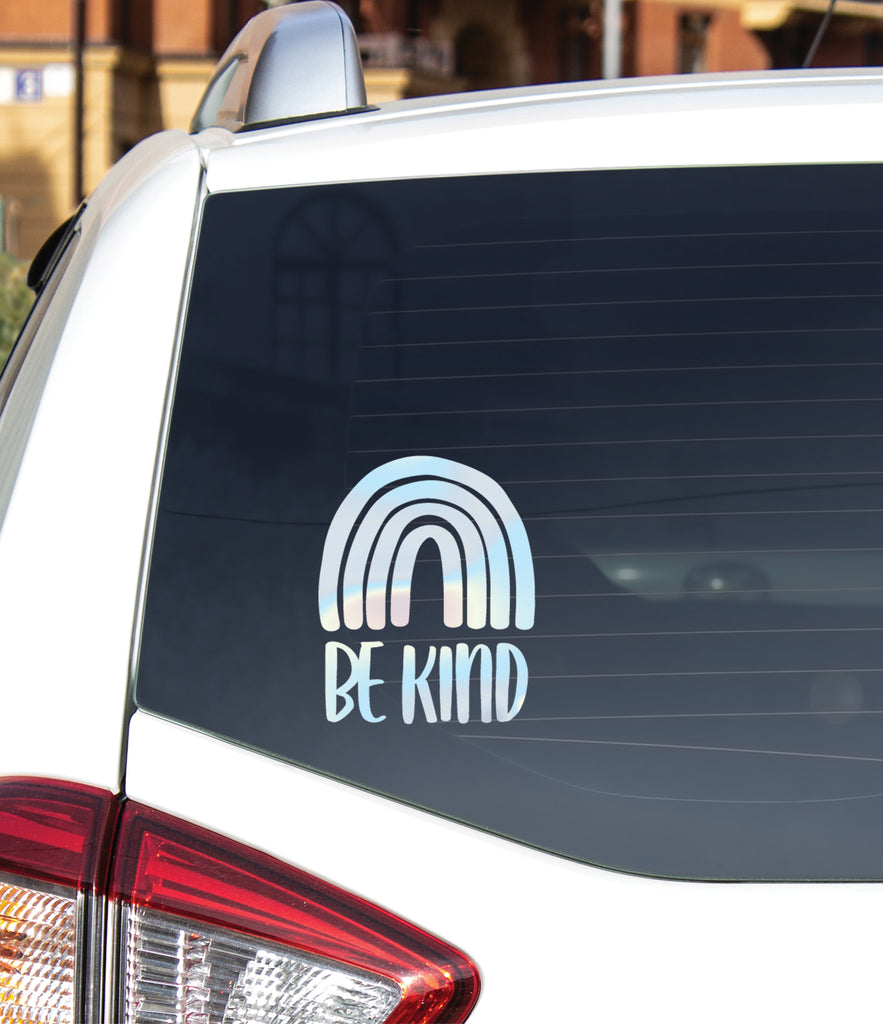 Be Kind Decal for Car Window or Anywhere, Rainbow Kind Bumper Sticker Custom Sticker Car Decal