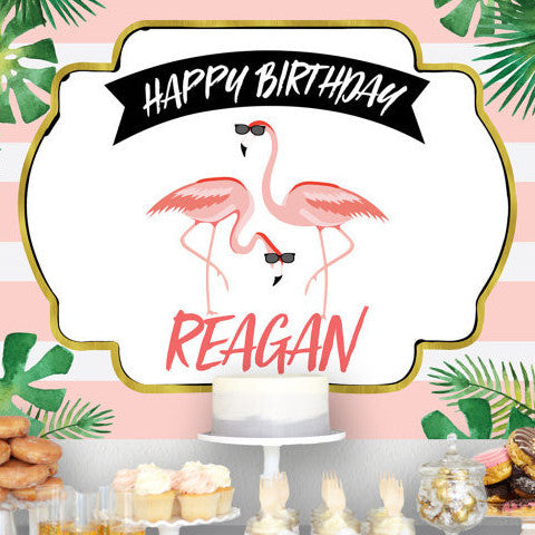 Flamingo Birthday Backdrop Banner - Wedding Decor Gifts