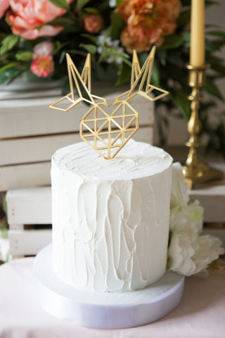 Geometric Wedding Cake Topper Birds and Heart - Wedding Decor Gifts