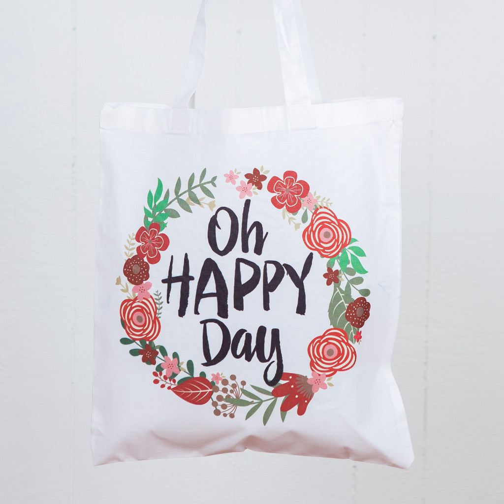 Oh Happy Day Floral Tote Bag - Wedding Decor Gifts
