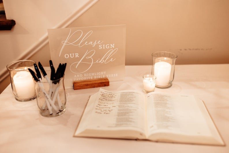 Guest Book Bible Sign Clear Frosted Acrylic Sign for Wedding, Clear Acrylic Wedding Sign & Stand, Sign the Bible Table Sign