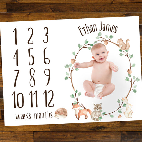 Woodland Baby Age Mat - Wedding Decor Gifts