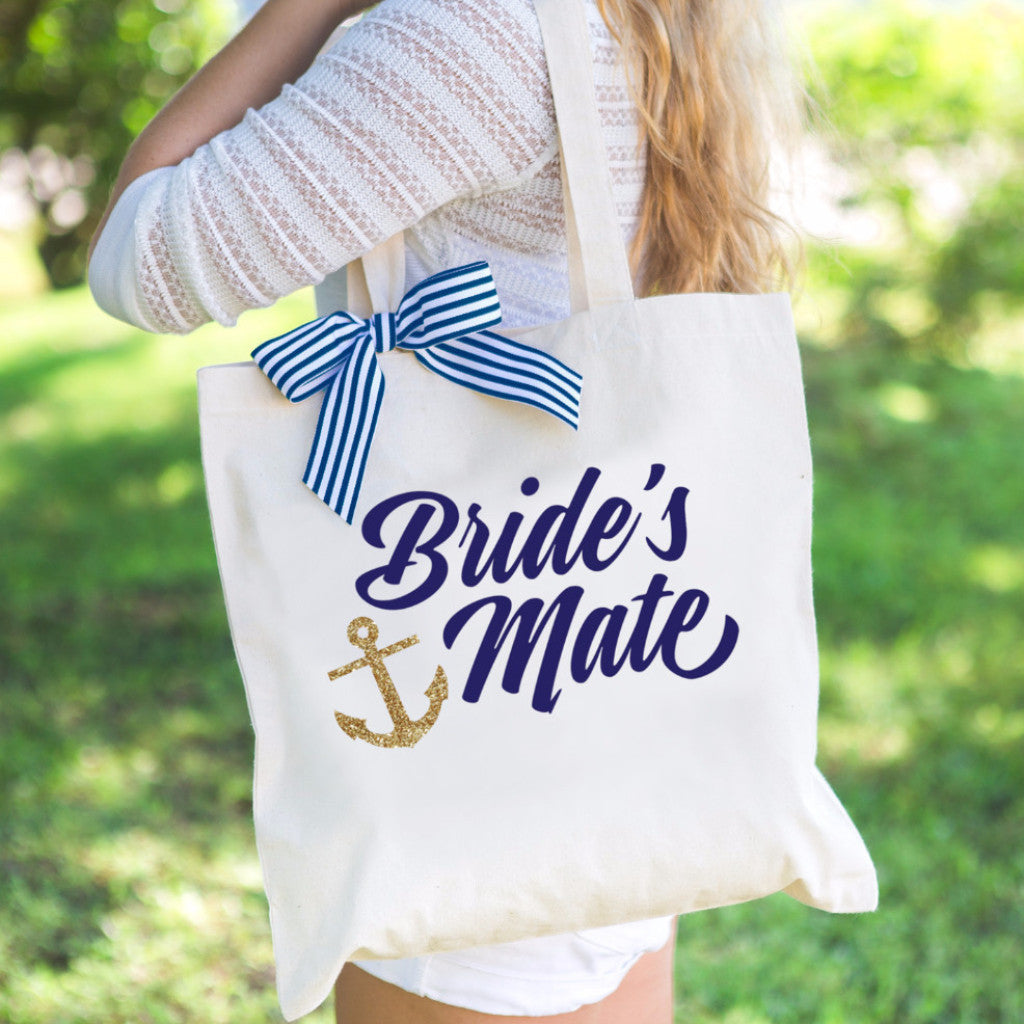 "Nautical Bridesmaid ""Bride's Mate"" Tote Bag - Wedding Decor Gifts"