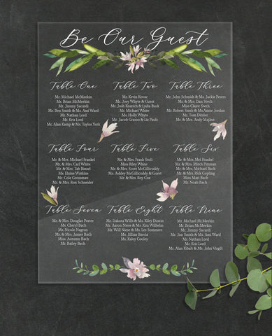 Seating Chart Wedding Clear Sign - Wedding Decor Gifts
