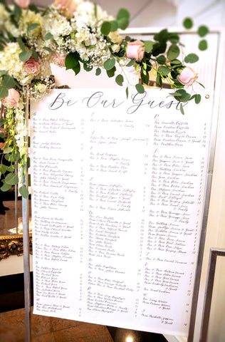 Wedding Seating Chart Fabric Banner for Wedding, Romantic Seating Chart Decoration Signs Clear Acrylic Fairytale Wedding