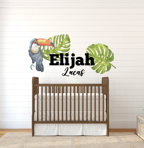 Safari Decals for Nursery Boys Bedroom Decor, Wall Decor, Large Wall Stickers, Wall Name, Sticker Decal Large Name