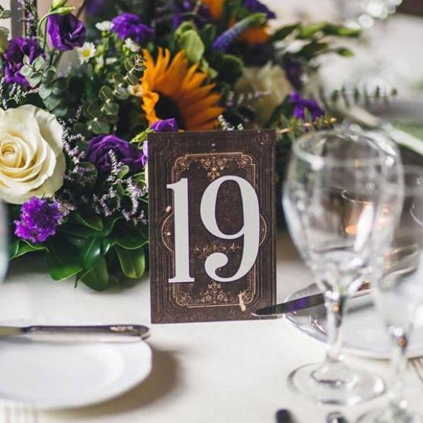 Vintage Book Table Numbers on Stands