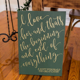 Gatsby Quote Painted Sign - Wedding Decor Gifts
