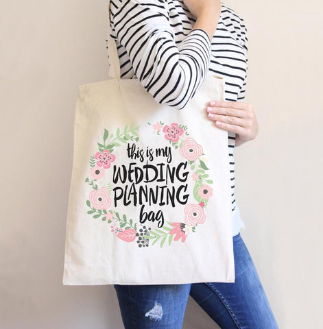 Wedding Planning Tote Bag for Bride or Newlywed Bridal Shower - Wedding Decor Gifts