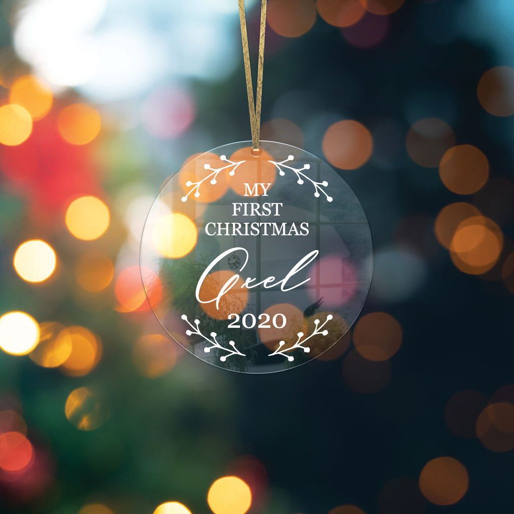 Baby's First Christmas Ornament, Personalized with Name Clear Acrylic, Modern Holiday Decorations Baby Ornament for Tree
