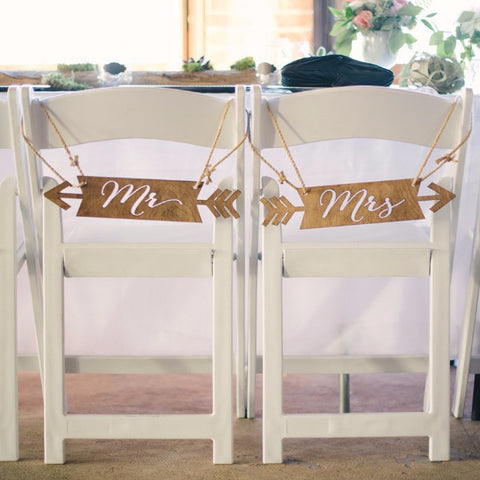 Boho Chic Mr & Mrs Chair Signs - Wedding Decor Gifts