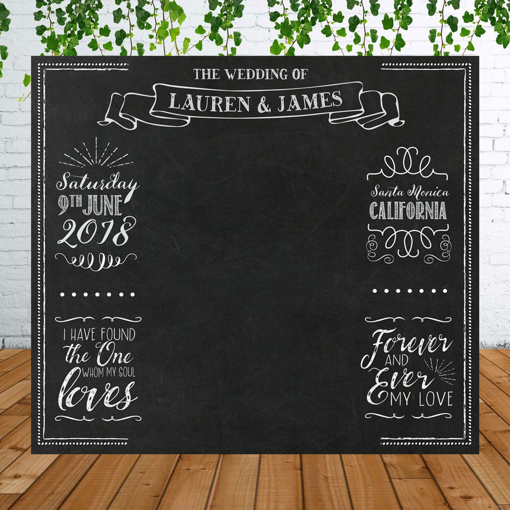 Personalized Chalkboard Wedding Backdrop for Photo Booth - Wedding Decor Gifts