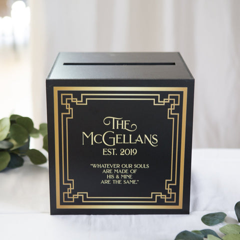Personalized Art Deco Wedding Card Box - Wedding Decor Gifts