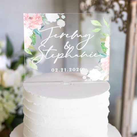 Floral Personalized Wedding Cake Topper