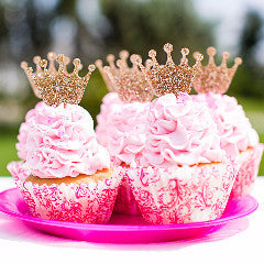 Glitter Princess Crown Cupcake Toppers - Wedding Decor Gifts