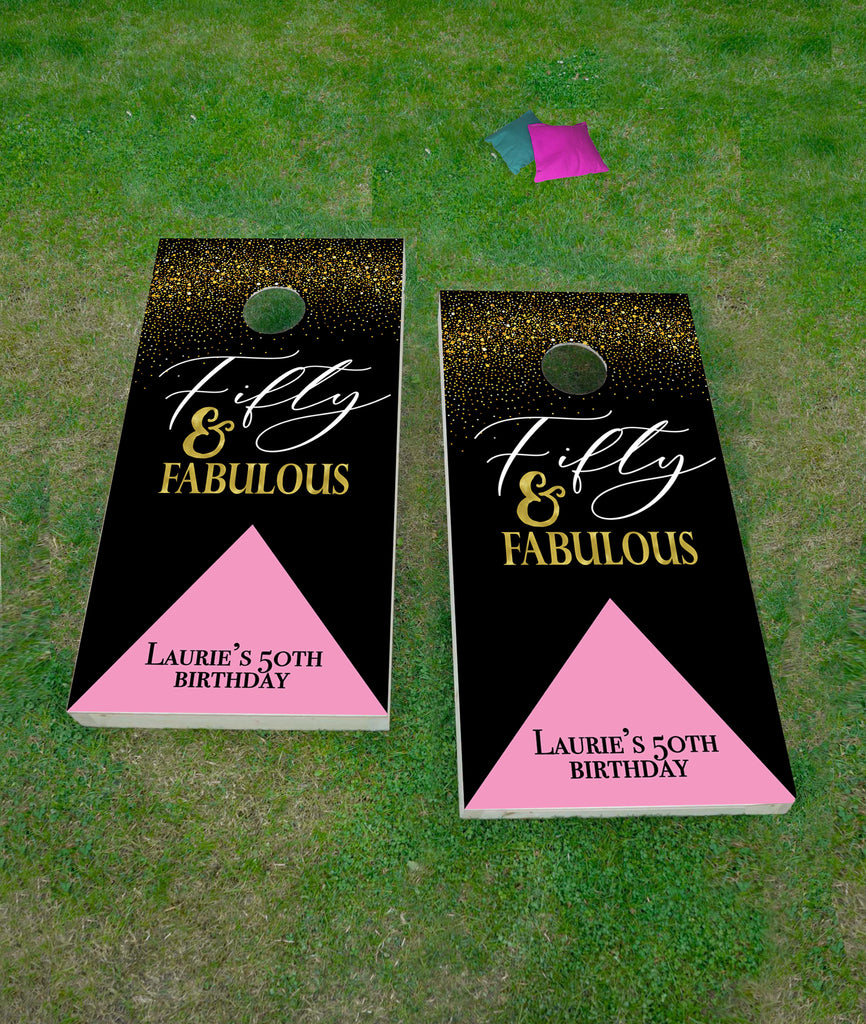 50th Birthday Cornhole Board Decals - Wedding Decor Gifts