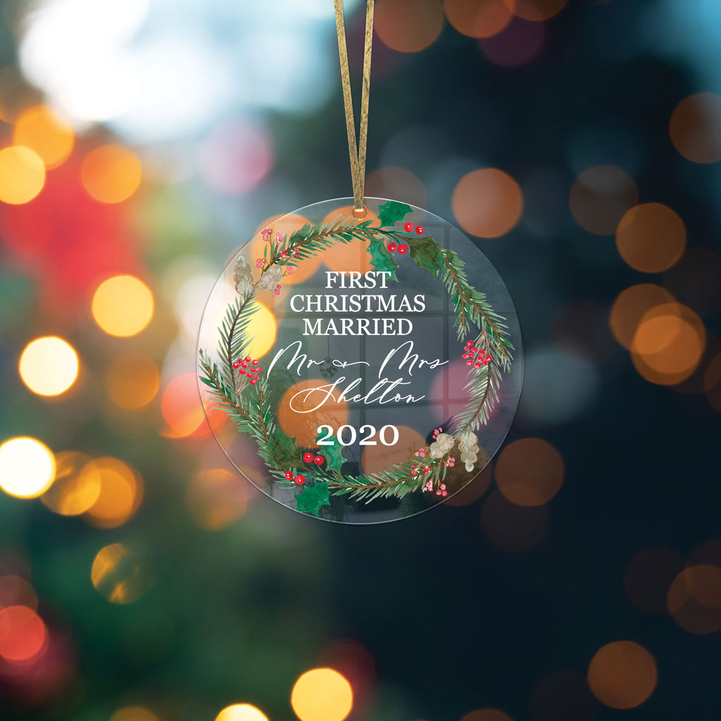 Christmas Ornament for Couples, First Christmas for Newlyweds, Clear Acrylic Ornament, Couples' Gift for Wedding, Christmas