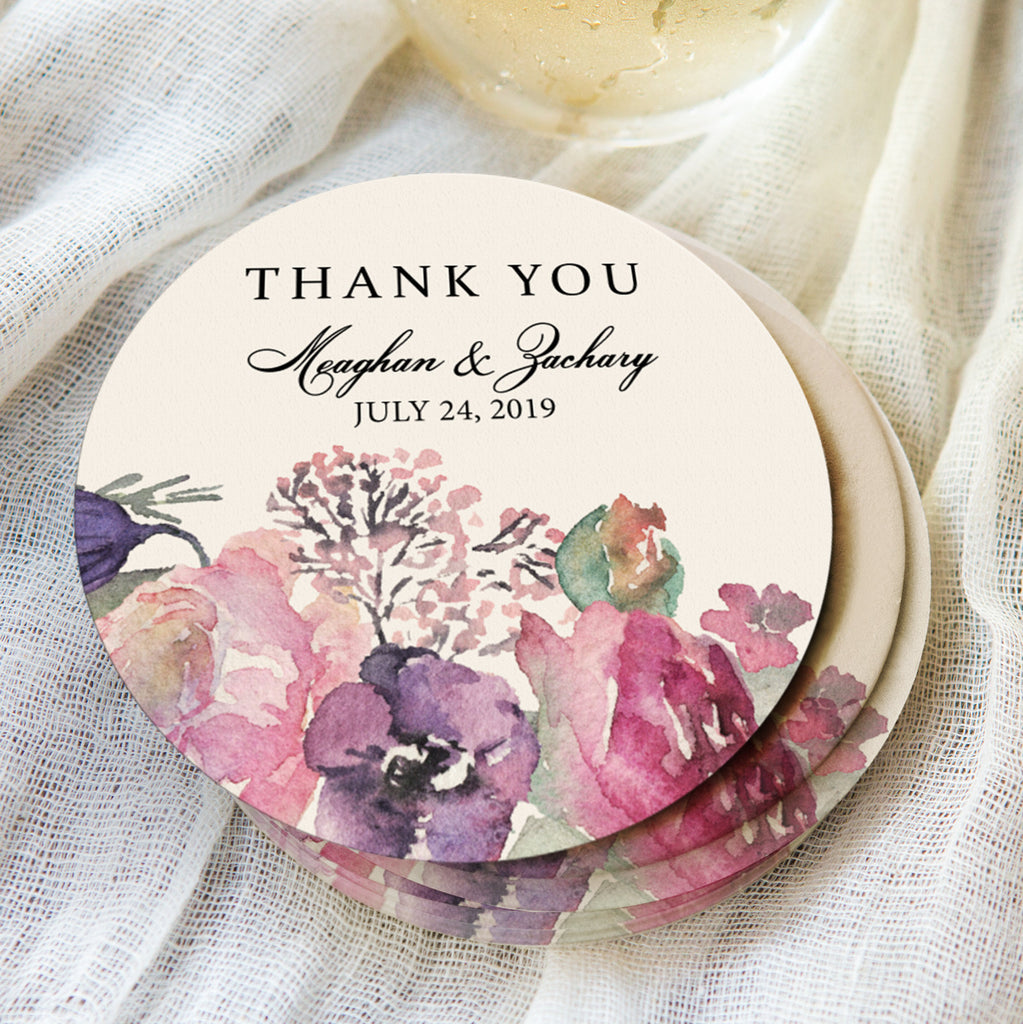 """Thank You"" Floral Drink Coaster - Wedding Decor Gifts"