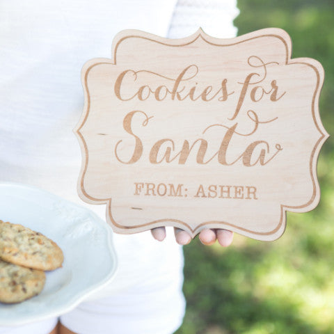 "Christmas Sign Personalized ""Cookies for Santa"" - Wedding Decor Gifts"