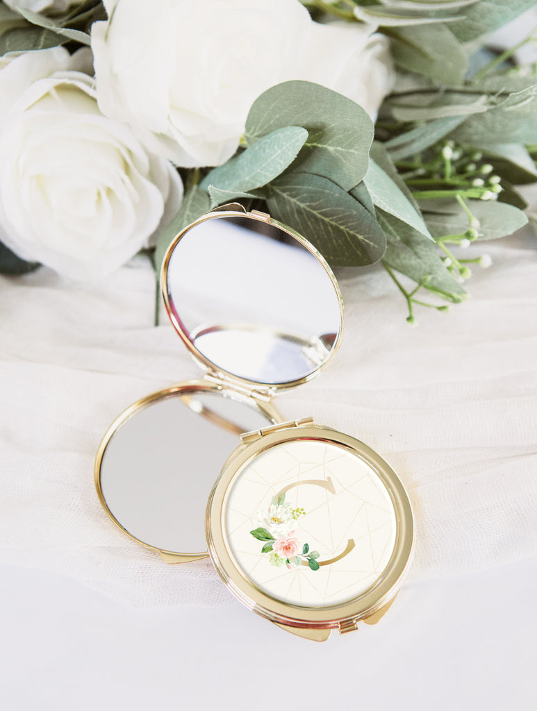 Bridesmaid Gift Compact Mirror Gold - Wedding Decor Gifts
