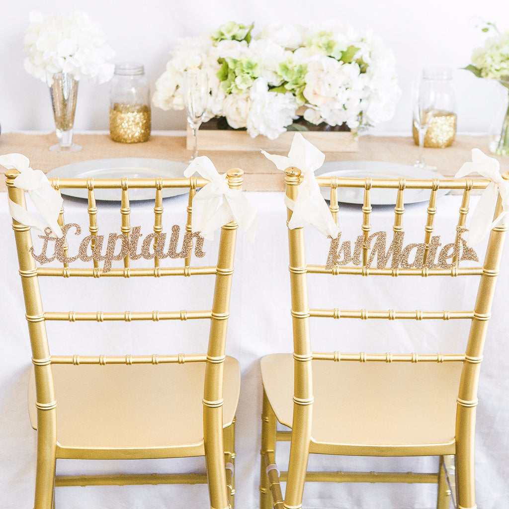 Captain & 1st Mate Chair Signs - Wedding Decor Gifts