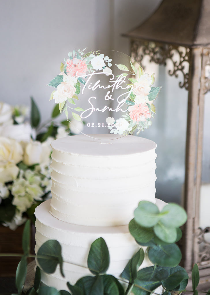 Clear Acrylic Floral Wedding Cake Topper
