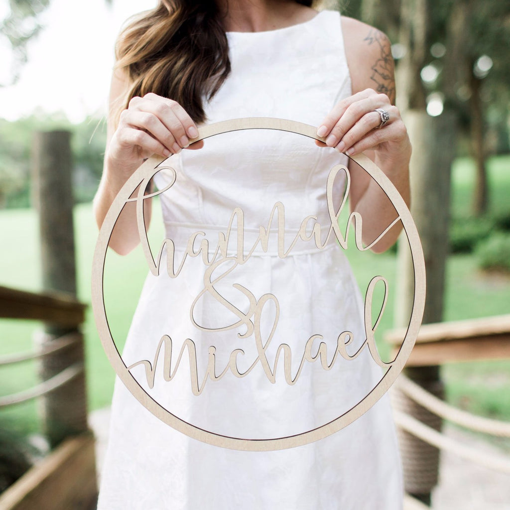 "18"" Hoop Style Wedding Sign - Wedding Decor Gifts"