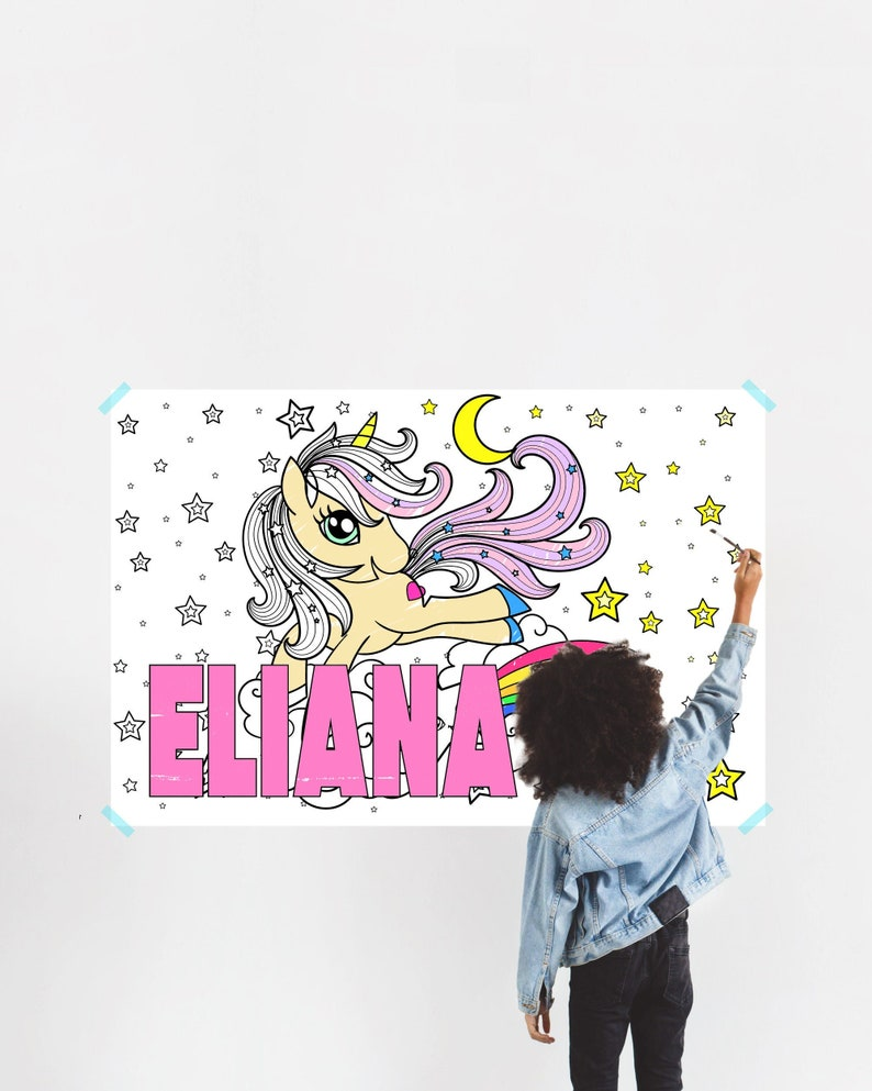 Coloring Poster for Kids with Name, Large Coloring Banner for Wall, Name Kids Unicorn Party Girls Activity Game Coloring