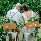 """Mr & Mrs"" Rustic Bamboo Chair Signs - Wedding Decor Gifts"