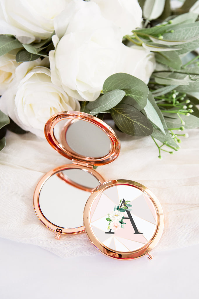 Bridesmaid Gift Compact Mirror Rose Gold - Wedding Decor Gifts
