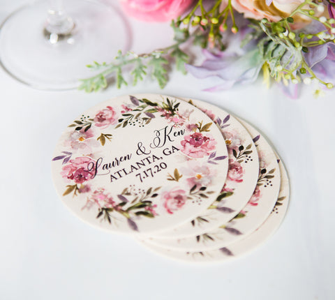 Wedding Favor Coasters Mauve Wreath - Wedding Decor Gifts