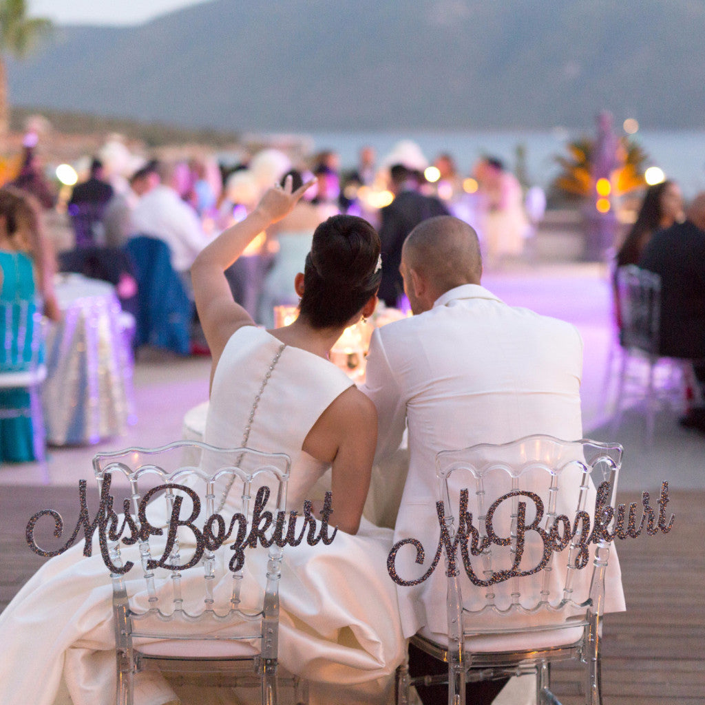 Personalized Mr & Mrs Chair Signs - Wedding Decor Gifts
